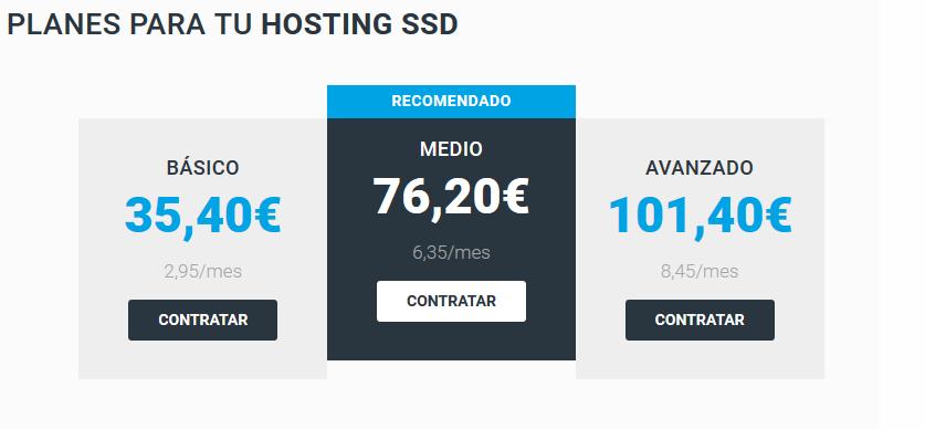 precio hosting pagina web