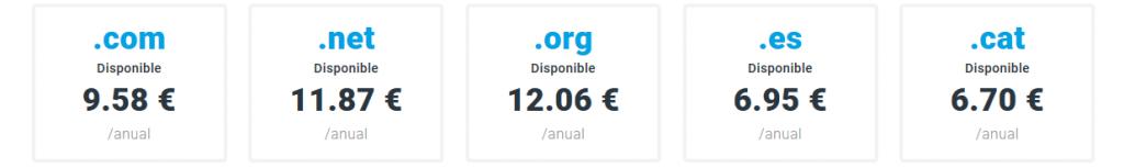 precio dominios web